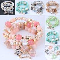 bracelets en cristal stretch pour filles achat en gros de-Bohème Perles Bracelets Bracelets Style De Mode Multicouche Bracelet Ensemble Pour Les Femmes Filles Stretch Verre Cristal Étoile Gland Bracelets M65Y
