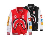 chaqueta de béisbol envío gratis al por mayor-Otoño invierno hombres Camo algodón Béisbol chaqueta Shark Mouth Imprimir Hip Hop Chaqueta de invierno cálido abrigo chaqueta envío gratis