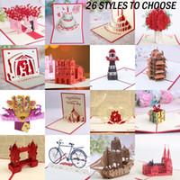 tarjeta de cumpleaños de navidad al por mayor-3D Pop Up Cards Invitaciones Valentine Lover Happy Birthday Xmas Anniversary Greeting Cards