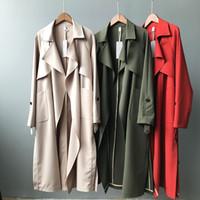 trincheira abrigos venda por atacado-2019 Primavera Mulheres Casaco Longo Turn Down Collar Harajuku Mulheres Trench Coat Verde Casaco Feminino Abrigo Mujer Trench Femme