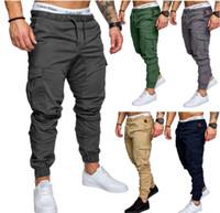 hombres pantalones casuales militares al por mayor-Pantalones de chándal para hombre Pantalones de chándal para hombre Pantalones de trabajo Pantalones de táctica militar Pantalones cargo de cintura elástica Pantalones de chándal de moda