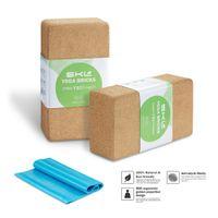 pacote de tijolos venda por atacado-SKL 2 Pacote Plus Strap Cork Bloco de Tijolos de Yoga Natural Eco-friendly 9