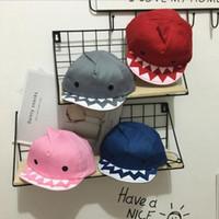 chapéus de beisebol de cor sólida venda por atacado-4 cores primavera verão crianças bebê tubarão boné de beisebol moda crianças novidade chapéu de sol cor sólida bebê shark bola cap cca11506 24 pcs