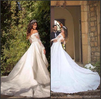 Wholesale beautiful elegant lace wedding dresses resale online - Elegant White A Line Wedding Dresses Beautiful Lace Off The Shoulder Long Sleeve Princess Bridal Gowns Vestidos De Mariee Cathedral Train