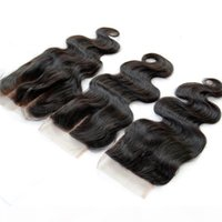 Wholesale peruvian hair way lace resale online - Brazilian Peruvian Malaysian Indian Cambodian Body Wave Lace Closure Unprocessed Virgin Human Hair Top Closures Free Middle Way Part
