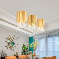 ingrosso luci di lusso del pendente dell'hotel-Moderno piccolo lampadario di cristallo rotondo oro illuminazione per cucina sala da pranzo camera da letto comodino luce lusso lampade a sospensione a led k9