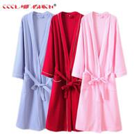0bdb823fb1 quality bathrobe NZ - Waffle cotton robes women Nightwear long-sleeved  casual Famale bathrobe High