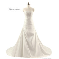 Wholesale beach wedding dress sheer real for sale - Group buy Satin Strapless Wedding Dresses In Stock Sheer Bodice Sleeveless Bridal Gowns Sexy Lace Up Beach Wedding Dress Cheap TJ014