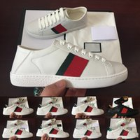Wholesale up band online - ACE Luxury Flat mens womens sneakers fashion designer men women Shoes Blue Red Stripe embroidery bee Leather new Casual shoes