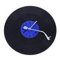 muraux de vinyle pour le salon achat en gros de-ABLA Quartz Ronde Rétro Horloge Murale Art Design Cuisine Salon Maison Décoration Vinyle Record Horloge Bleu + Noir En Plastique