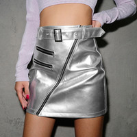 Wholesale sexy clothing boutiques resale online - Boutique girls clothes Skirts Beveled zipper belt silver sexy hip skirt short skirt women s clothing Pu material