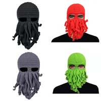 Wholesale funny winter face masks for sale - Group buy Free DHL Colors Men Handmade Knit Octopus Hat Adult Children Beanie Hat Cap Halloween Funny Party Masks Neck Face Mask Cycling Cosplay