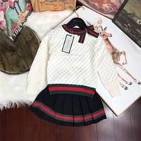 bebek bayan süveter tutu toptan satış-Çocuk Konfeksiyon Kız Sonbahar Bebek Giyim Seti 2018 Yeni Desen Kore Twinset Çocuk Olacak Çocuk Batı Tarzı Kazak Suit