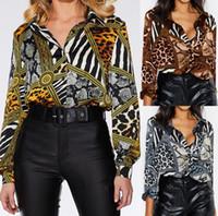 patrones de ropa sexy al por mayor-Patrón de animal de las mujeres camisa de diseñador sexy delgado v cuello impresión manga larga camisas de gasa moda urbana ropa de las mujeres