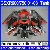 gsxr neue verkleidungen großhandel-+ Tank Für SUZUKI Schwarz Rot Neu GSXR 600 750 GSXR-750 GSXR600 2001 2002 2003 294HM.71 GSX R750 R600 K1 GSX-R600 GSXR750 01 02 03 Verkleidung