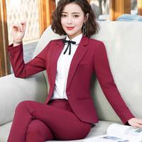 plus größe hosen anzug damen großhandel-Mode Kleidung Business Interview Frauen Hosen Anzüge plus Größe Arbeit Büro Damen Langarm schlank Formale Blazer und Hosen Set