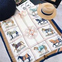 lenço de bandana venda por atacado-Moda Cachecóis para Mulheres Xaile Cavalos Impressão Cetim De Seda Hijab Cachecol Bandana Feminina 90 * 180 cm Marca Xales Cachecóis Para senhoras