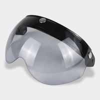 capota para cima venda por atacado-Universal 3-Snap Motorcycle Motocicleta Viseira lente Flip Up W Escudo lente Fit para TORC BEON 3 botões capacete Meia face visor de vidro