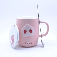 pink cup lid al por mayor-400ML Relieve Taza Creativa Taza de café de cerámica Cute Pink Pig Cartoon Divertido con empuñadura Tapa Cuchara Kid Gift Accesorios de cocina