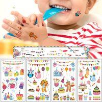 Wholesale sticker happy birthdays resale online - Happy Birthday Party Tattoo Sticker for Children Cake Balloon Tattoo Paste Waterproof Face Arm Finger Body Tattoo for Kids Festival Decor