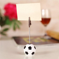 Wholesale unique place card holders for sale - Group buy Sports Collection Football Design Place Card Holder Message Card Clips Unique Wedding Table Decoration