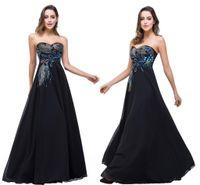 vestidos de noite preto pavão venda por atacado-Em Inventário Designer Preto Vestidos querido pavão bordado formal do partido Prom Vestidos Vestidos de festa CPS342