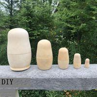 Wooden Russian Nesting Dolls 5pcs set Unpainted DIY Blank Wooden Matryoshka Dolls Toys Gifts DIY Handicraft KKA7630