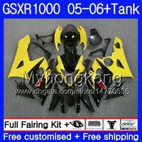 ingrosso vernice gialla k5-Kit + serbatoio per SUZUKI GSXR-1000 1000CC GSXR 1000 05 06 Corpo 300HM.17 GSX-R1000 1000 CC giallo nero GSX R1000 K5 GSXR1000 2005 2006 Carenatura