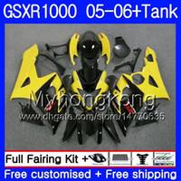 carenado k5 amarillo al por mayor-Kit + tanque para SUZUKI GSXR-1000 1000CC GSXR 1000 05 06 Cuerpo 300HM.17 GSX-R1000 1000 CC Amarillo negro GSX R1000 K5 GSXR1000 2005 2006 Carenado