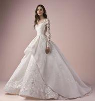 vestido modesto moderno venda por atacado-L2019 New ace vestido de Baile Vestidos de Casamento Sheer Bateau Neck Modest Vestidos De Noiva Com Manga Até O Chão Plus Size Vestido de Casamento Moderno