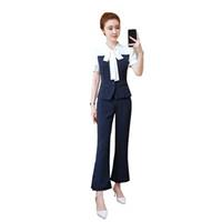 traje de dos piezas mujer coreana al por mayor-Nuevos trajes de verano de la moda coreana de la raya arco top blusa pantalones conjunto de ropa de dos piezas vestidos mujer traje de oficina dama traje