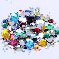 piedras de cristal para la ropa al por mayor-Tamaños mezclados 1000pcs muchos colores Ronda flojo de acrílico Flatback del Rhinestone del arte del clavo Piedras de Cristal para la ropa para matrimonio