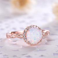 ingrosso porcellana autentica gioielli-ROMAD Dainty Round Fire Opal Anelli per le donne in oro rosa CZ anelli di fidanzamento in rame Promise Ring con confezione regalo R4