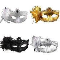 Wholesale halloween feather eye masks resale online - Fashion Women Sexy mask Hallowmas Venetian eye mask masquerade masks with flower feather Easter dance party holiday mask drop