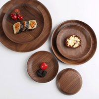 Wholesale food serves resale online - Kitchen Black Walnut Round Dishes Rectangle Beech Wood Food Bread Snack Plates Fruit Cake Pizza Tea Trays Hotel Serving Trays VT1616