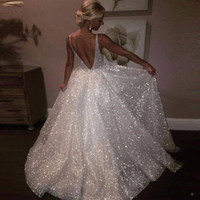 Wholesale special occasion dresses plus sizes online - 2019 White Sparkle Sequin Evening Dresses Deep V Neck Sexy Low Back Long Prom Dress Cheap Pageant Gowns Special Occasion Wear