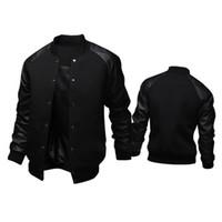 sweat noir manches en cuir achat en gros de-New Trend Black College Base Jacket Hommes / Garçon Veste Homme Casual En Cuir Pu Manches Hommes Sweat Varsity Vestes Pour