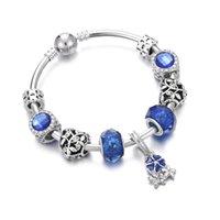 kızlar için mücevher bilezikleri toptan satış-Sıcak Satış Bayanlar Bileklik Takı Çiçek Mavi Gem Kristal Boncuk Pürüzsüz Gümüş Kaplama Kadın Bilezik Bilezik Kız Kol Bandı Hediye DIY
