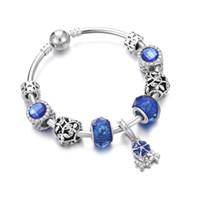 ingrosso braccialetti di gemma per le ragazze-Vendita calda Signore Bangle Gioielli Fiore Blu Gemma Perline di cristallo liscio argento placcato donne braccialetti bracciali ragazza bracciale regalo fai da te