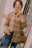 bayanlar gündelik gömlekler yaka toptan satış-2019 Klasik Lüks kadın Ekose Baskı Yaka Tasarımcı Gömlek OL bayanlar rahat ofis düğmesi ön yaka boyun uzun kollu ince bluzlar tops