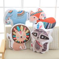 lindos juguetes de leon de bebe al por mayor-INS Baby lion fox elephant Stuffed Toys Cute Rainbow almohada en forma de muñeca decorativa ropa de cama almohadas para niños habitación regalo de Navidad wn615