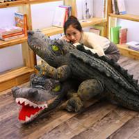 lustige halloween-geschenke großhandel-Simulation Tierkrokodil Plüschtier Übergroße Alligator Plüsch Puppe Hässliche Lustige Puppe Kissen Geschenk Dekoration 120 cm EEA426