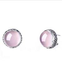 gemstone jewelry china achat en gros de-Nouveau produit de mode femmes 925 Sterling Silver Rose Topaze Gemstone Stud boucles d'oreilles Chine Style Rétro Bijoux