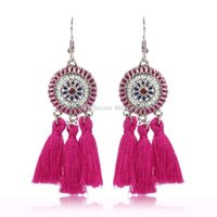 Wholesale 2019 handmade ethnic bohemian thread tassel earrings vintage Jewelry for woman and girls colors C6029