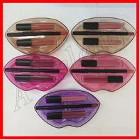 forro para os lábios venda por atacado-2019 Lip Maquiagem Batom Líquido Matte + Lip Liner Lipliner + Demi Fosco Lipgloss Lip Set 3 em 1 Make Up Kit