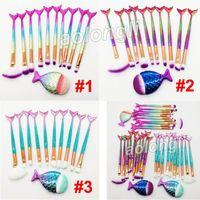 Wholesale 11 tool kit resale online - New Makeup Brushes kit Mermaid brush Set Face and Eyeshadow Powder Foundation brushes Eyebrow Eyeliner brush Makeup Tools Kit