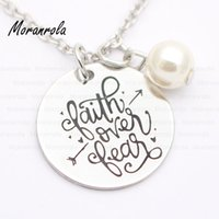 Wholesale love god necklace resale online - New arried quot faith over fear quot Copper necklace Keychain charm Christian Jewelry faith charm love necklace jesus god keychain