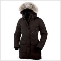 kadın için ince ceket toptan satış-2019 Kanada markası Bayan Aşağı Parkas yeni kalın, sıcak ve ceket kadın kış 6 aşağı su geçirmez uzun bölüm ince düz renk kaz rüzgar geçirmez