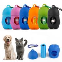 sacos de lixo de plástico venda por atacado-Novo Cão de Sacos De Plástico Portátil Pet Dispenser Caso de Lixo Incluído Pegar Waste Poop Sacos para cão Waste sacos descartáveis T2I5336