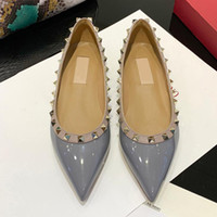 Wholesale white rose gold wedding dress for sale - Group buy sale size genuine leather stud ballerina flats blue black nude red yellow rose pink luxury designer runway classic fashion womens